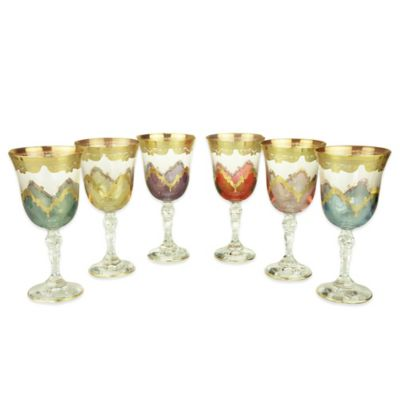 Classic Touch Assorted Colors Water Glasses with 24K Gold Artwork (Set of 6)