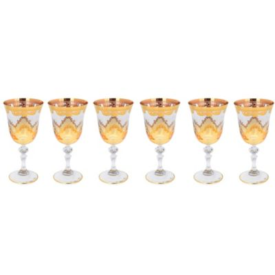 Classic Touch Amber Water Glasses with 24K Gold Artwork (Set of 6)