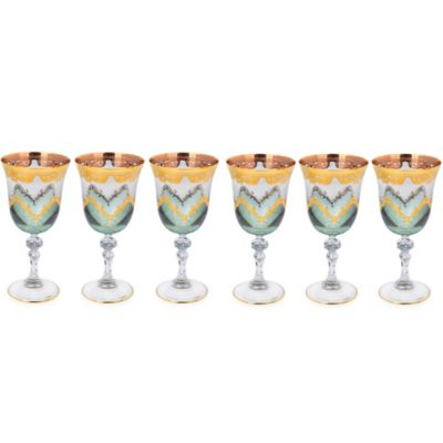 Classic Touch Green Water Glasses with 24K Gold Artwork (Set of 6)