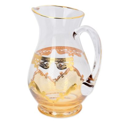 Classic Touch Glass Pitcher in Green with 24K Gold Artwork