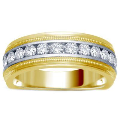 14K Yellow Gold 1.0 cttw Diamond Milgrain Size 8 Men's Wedding Ring