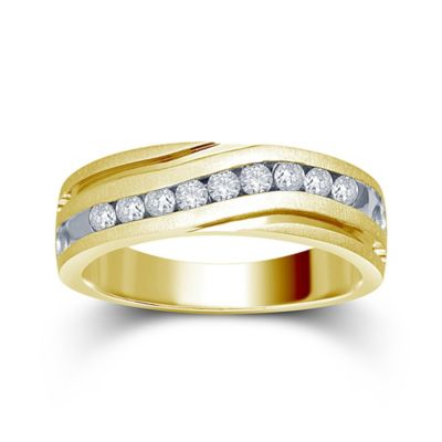 10K Yellow and White Gold .50 cttw Channel-Set Diamond Size 10.5 Men's Slant Wedding Band