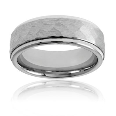 Fiero Cobalt Size 7 Hammered Center Men's Comfort-Fit Wedding Band