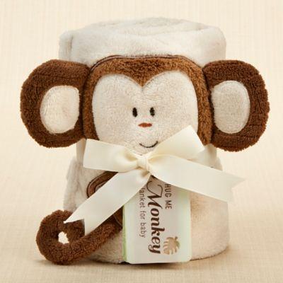 Baby Aspen Hug Me Monkey Plush Velour Baby Blanket