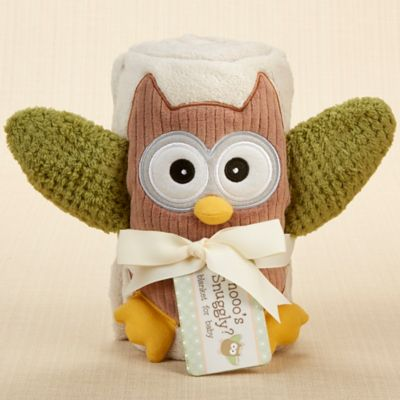 Baby Aspen My Little Night Owl Plush Velour Baby Blanket