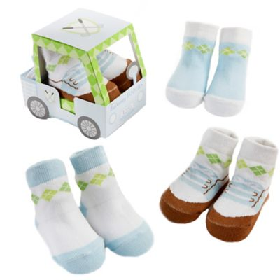 Baby Aspen 3-Pair Fairway Footies Sock Gift Set in Blue