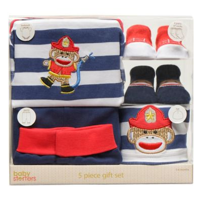 Baby Starters® Sock Monkey 5-Piece Fireman Apparel Gift Set