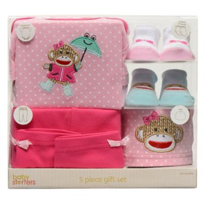 Baby Starters® Sock Monkey 5-Piece It's Raining Smiles Apparel Gift Set