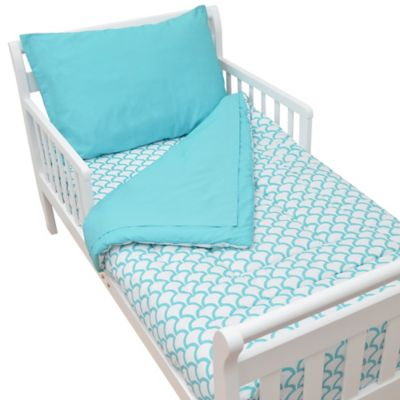 TL Care® 4-Piece Percale Toddler Bedding Set in Aqua Sea Wave