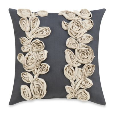 Sonoma Floral Square Throw Pillow in Grey