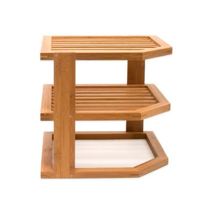 Lipper 3-Tier Corner Bamboo Shelf