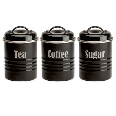 Vintage 3-Piece Canister Set in Black