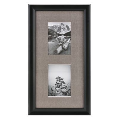 Real Simple® Deep Black Wood Wall Frame with Grey Mat for 2 5-Inch x 7-Inch Photos