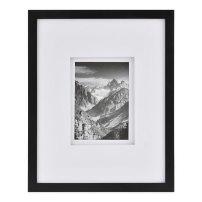 Real Simple® Black Wood Wall Frame with White Double Mat for 5-Inch x 7-Inch Photo