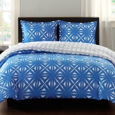 Echo Design™ Lattice Geo Reversible King Comforter Set in Blue