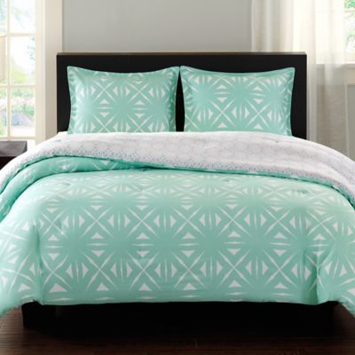 Echo Design™ Lattice Geo Reversible Twin Comforter Set in Aqua