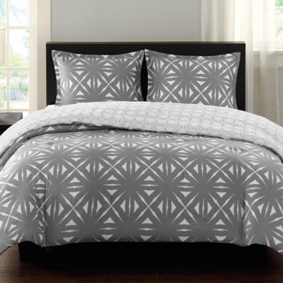 Echo Design™ Lattice Geo Reversible Twin Comforter Set in Grey
