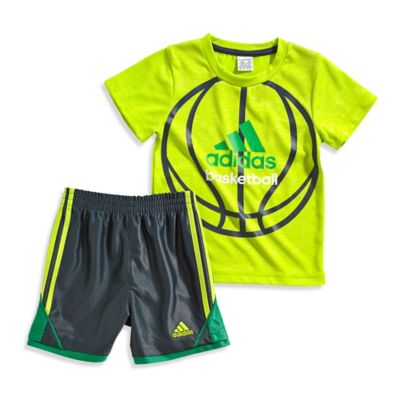 adidas® Size 12M 2-Piece Basketball T-Shirt and Short Set in Yellow