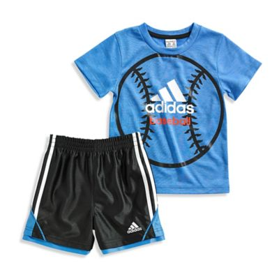 adidas® Size 12M 2-Piece Baseball T-shirt and Short Set in Blue/Black