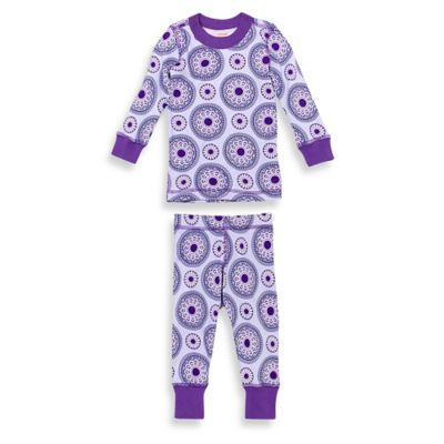 Masala Baby Size 12-18M 2-Piece Peppermint Medallion Long Sleeves Organic Pajama Set in Purple