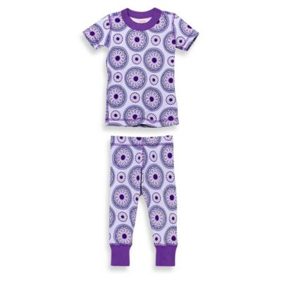 Masala Baby Size 12-18M 2-Piece Peppermint Medallion Short Sleeves Organic Pajama Set in Purple