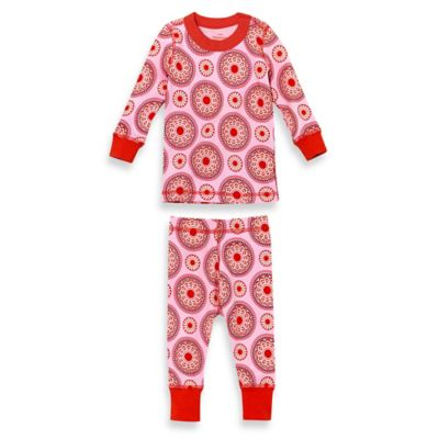 Masala Baby Size 3T 2-Piece Peppermint Medallion Long Sleeves Organic Pajama Set in Red