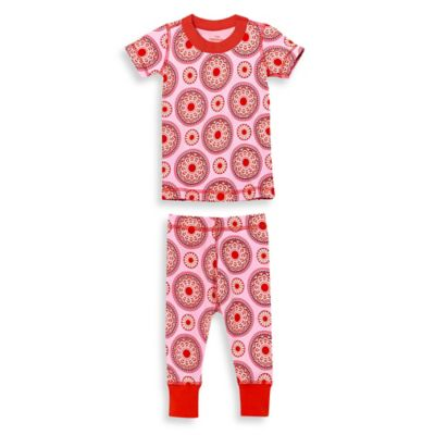 Masala Baby Size 2T 2-Piece Peppermint Medallion Short Sleeves Organic Pajama Set in Red