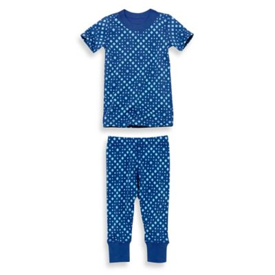 Masala Baby Size 12-18M 2-Piece Mini Squares Short Sleeves Organic Pajama Set
