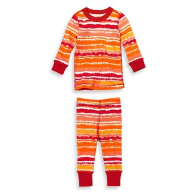 Masala Baby Size 12-18M 2-Piece Painterly Stripes Long Sleeves Organic Pajama Set