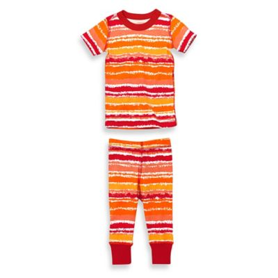Masala Baby Size 12-18M 2-Piece Painterly Stripes Short Sleeves Organic Pajama Set
