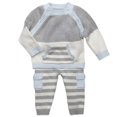 Elegant Baby Size 6M Sweater and Striped Pant Set in Grey