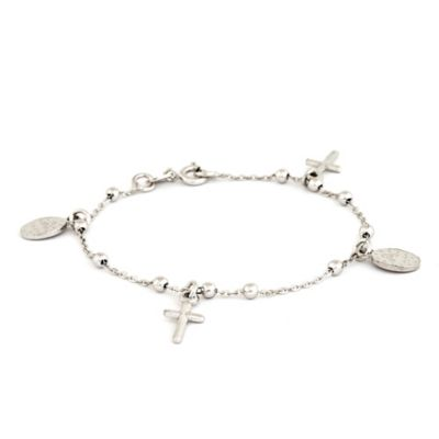 Speidel My First Speidel® Sterling Silver Mary & Cross Charm Bracelet