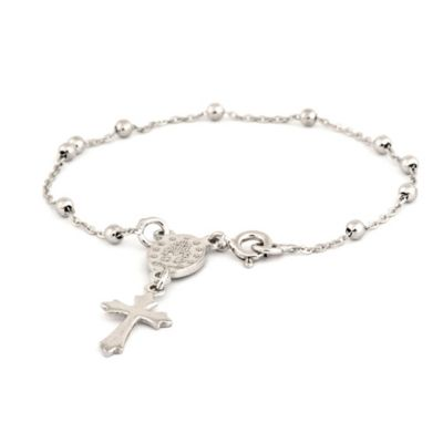 Speidel My First Speidel® Sterling Silver Mary & Budded Cross Charm Bracelet
