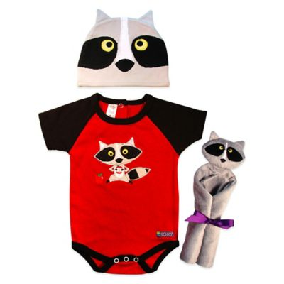 Sozo® 3-Piece Raccoon Welcome Home Gift Set in Red/Black/Grey