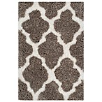Safavieh Nantucket Collection 2-Foot x 3-Foot Barcelona Shag Rug in Silver/White