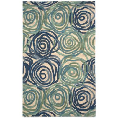 Trans-Ocean Tivoli Rambling Rose 8-Foot x 10-Foot Rug in Navy