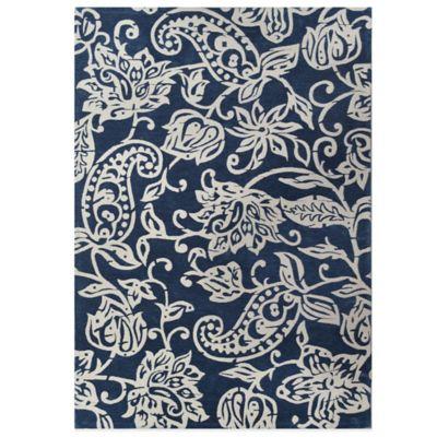 Melodie 2-Foot x 3-Foot Wool/Chenille Rug in Indigo Ocean Blue
