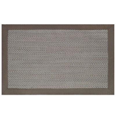 PET Woven 2-Foot x 3-Foot Indoor/Outdoor Accent Rug with Solid Border in Grey