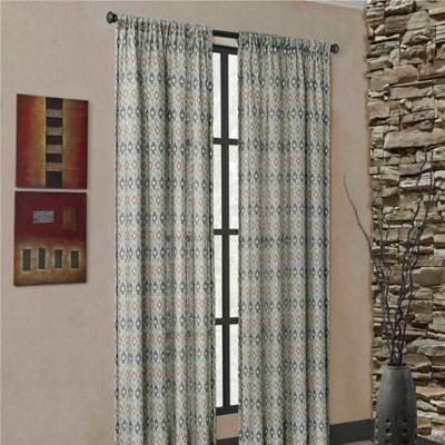 Mendes 84-Inch Rod Pocket Window Curtain Panel in Blue