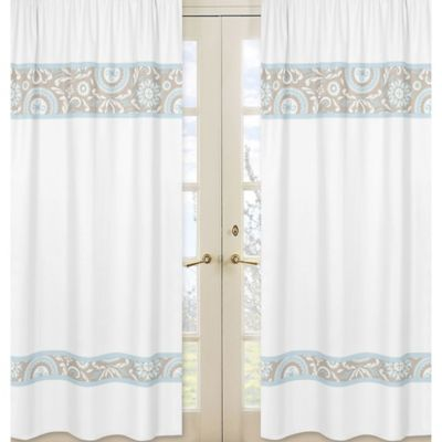 Sweet Jojo Designs Hayden Window Panel Pair in White/Medallions