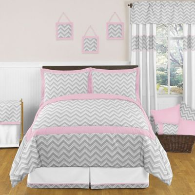 Sweet Jojo Designs Zig Zag 4-Piece Twin Comforter Set in Pink/Grey