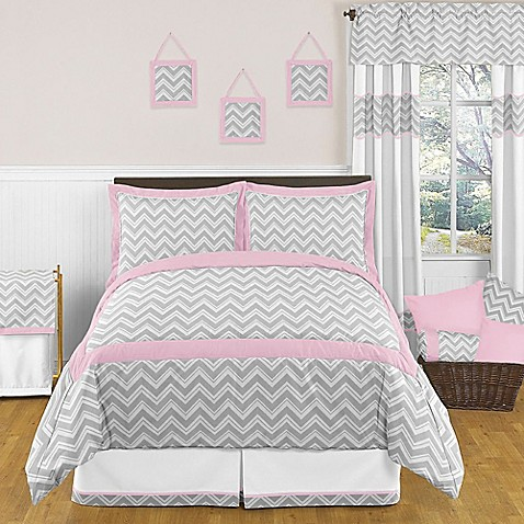 Sweet jojo designs zig zag bedding collection in pink grey for Zig zag bedroom ideas