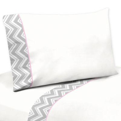 Sweet Jojo Designs Zig Zag Twin Sheet Set in Pink/Grey