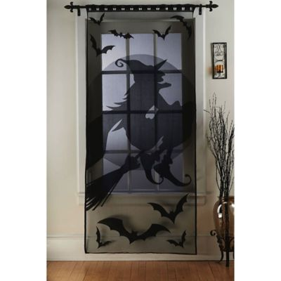 Witch on a Broom Window/Door Panel in Black