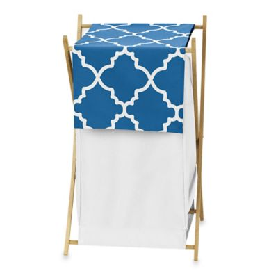 Sweet Jojo Designs Trellis Laundry Hamper in Blue