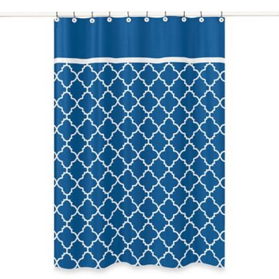 Sweet Jojo Designs Trellis Shower Curtain in Blue/White