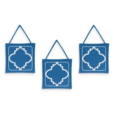 Sweet Jojo Designs Trellis 3-Piece Wall Hanging Set in Blue