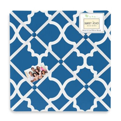 Sweet Jojo Designs Trellis Fabric Memo Board in Blue/White