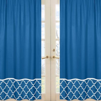Sweet Jojo Designs Trellis Window Panel Pair in Blue
