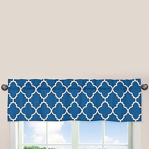 Sweet jojo designs trellis window valance in blue for Window trellis design